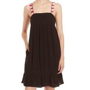 Black Bahia Fringe Empire Waist Dress